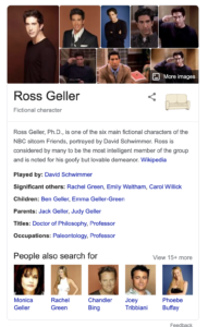 """Google Knowledge Graph for the search query """"Ross Geller"""