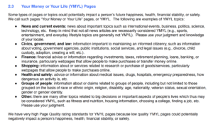 YMYL excerpt from Google Search Quality Rating Guideline