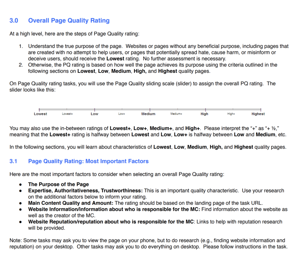 Page Quality Rating