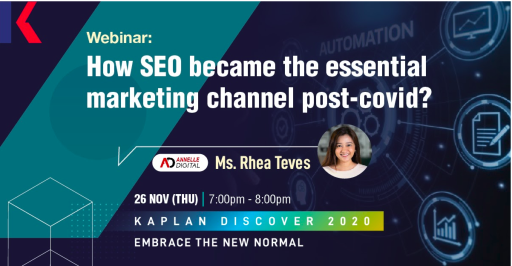 How SEO became the essential marketing channel post-covid Kaplan Discover 2020 webinar by Annelle Digital