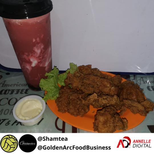 Buffalo chicken bites and red velvet milk tea from Shamtea and Goldenarc food business