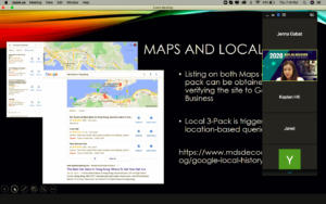 Screenshot of Google Maps and Local 3-Pack SEO Webinar slide by Annelle Digital