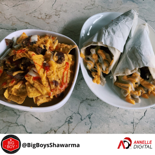 two orders of beef shawarma with a side of nachos from Big Boys Shawarma