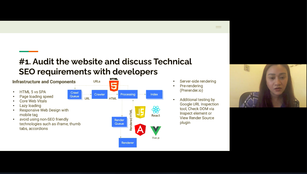 screenshot of Audit the website and discuss technical SEO requirement with developers webinar slide by Annelle Digital