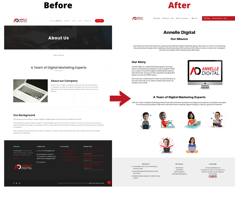 before and after screenshot of Annelle Digital's about us