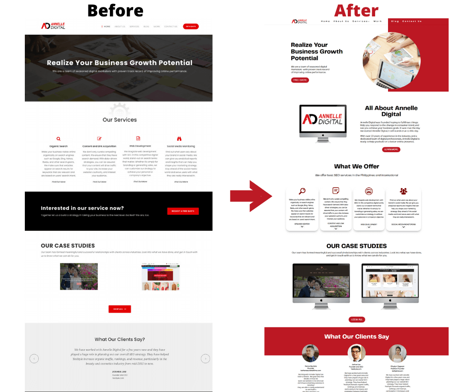 before and after screenshot of Annelle Digital's home page